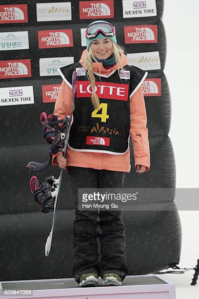 Katie Ormerod of Great Britain takes 3rd place during Ladies BA Finals the FIS Snowboard World Cup 2016/17 at Alpensia Ski Jumping Center on November...