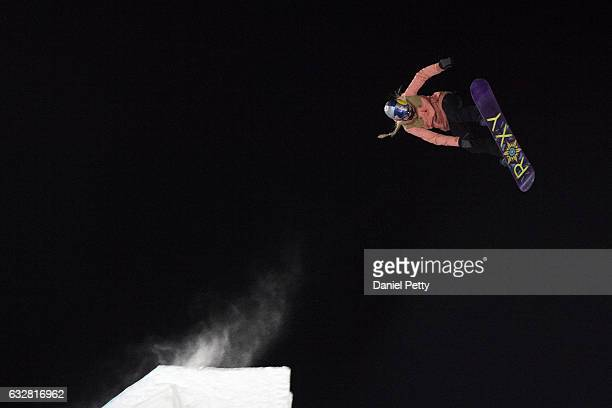 Katie Ormerod takes off during the women's snowboard big air event during Winter X Games 2017 Aspen at Buttermilk Mountain on January 26 in Aspen...