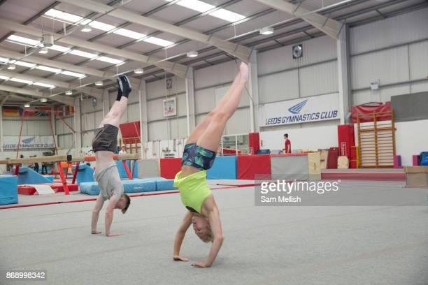 Katie Ormerod with Tyler Harding at the Leeds Gymnastic Club on 21st July 2017 in Leeds United Kingdom Leeds Gymnastic Club is one of the training...