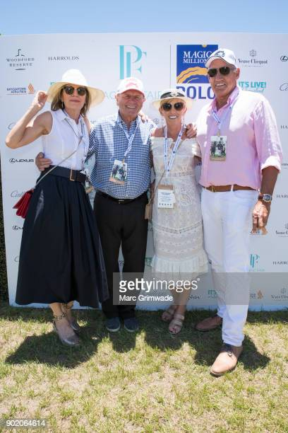 Katie Page and Gerry Harvey with Gillian and Hoss Heinrich attend Magic Millions Polo on January 7 2018 in Gold Coast Australia