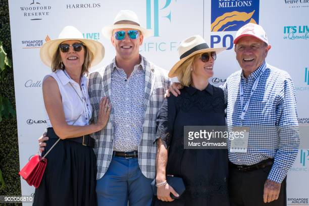 Katie Page and Mike Tindall and Zara Phillips MBE and Gerry Harvey attend Magic Millions Polo on January 7 2018 in Gold Coast Australia