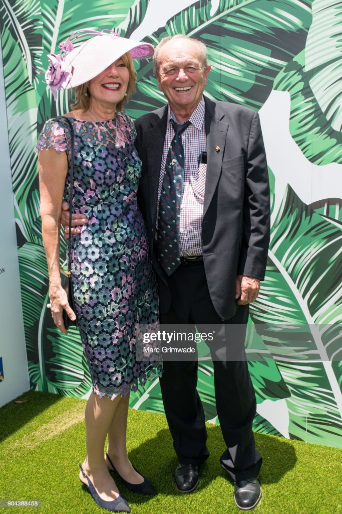 Katie Page & Gerry Harvey attend the Magic Millions Raceday on January 13, 2018 in Gold Coast, Australia.
