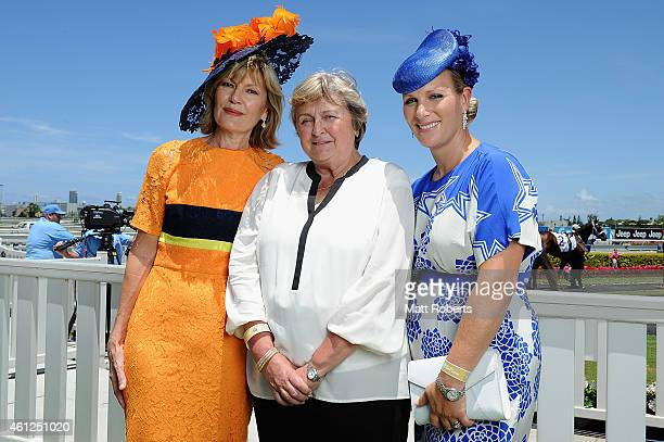 Katie Page-Harvey, Criquette Head-Maarek and Zara Phillips pose during Magic Millions Race Day at Gold Coast Racecourse on January 10, 2015 on the...