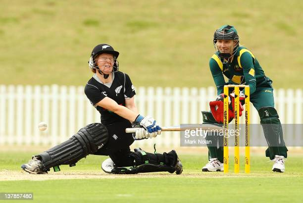 Katie Perkins of New Zealand attempts a sweep shot during the Women's Oneday International match between the Australian Southern Stars and New...