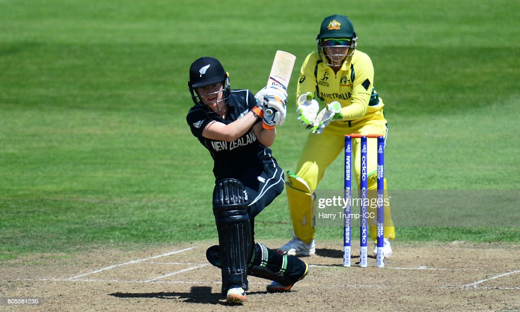 Katie Perkins of New Zealand bats during the ICC Women's World Cup 2017 match between Australia and New Zealand at The County Ground on July 2, 2017 in Bristol, England.