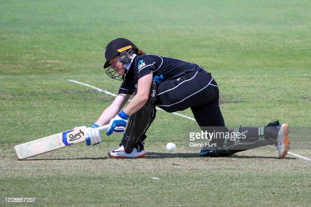 Katie Perkins of New Zealand batting during game one in the women's One Day International Series between Australia and New Zealand at Allan Border...