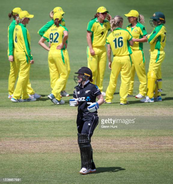 Katie Perkins of New Zealand leaves the field after getting out during game one in the women's One Day International Series between Australia and New...