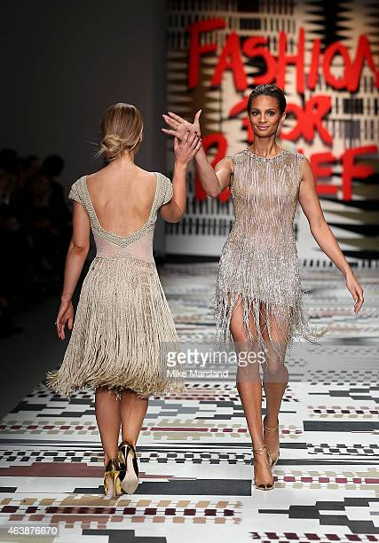 Katie Piper and Alesha Dixon walk the runway at the Fashion For Relief charity fashion show to kick off London Fashion Week Fall/Winter 2015/16 at...