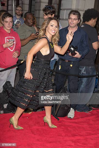 Katie Piper arrives for The Bodyguard opening night at Dominion Theatre on July 21 2016 in London England