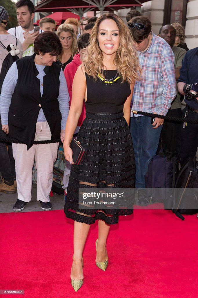 Katie Piper arrives for The Bodyguard opening night at Dominion Theatre on July 21, 2016 in London, England.