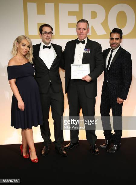 Katie Piper Gareth Patrickson Managing Director of Laerdal UK and Dr Ranj present Tony Davis with his Special Commendation for his actions during the...