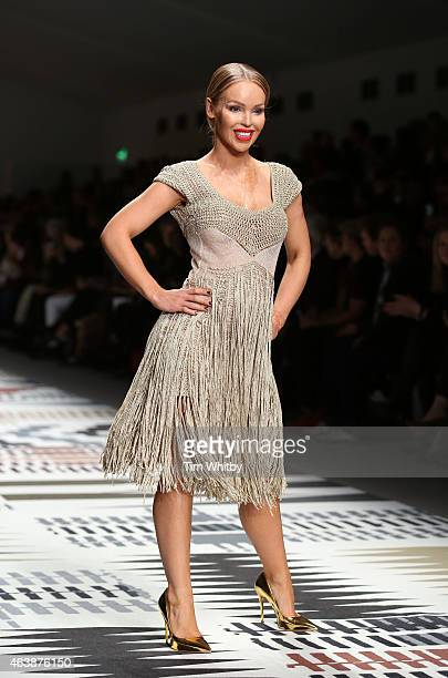 Katie Piper walks the runway at the Fashion For Relief charity fashion show to kick off London Fashion Week Fall/Winter 2015/16 at Somerset House on...