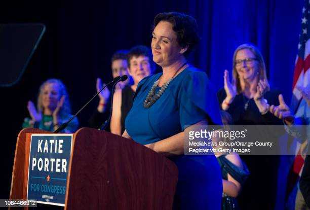 Katie Porter the Democratic candidate for the 45th Congressional District speaks to supporters on election night at the Hilton Irvine in Irvine on...