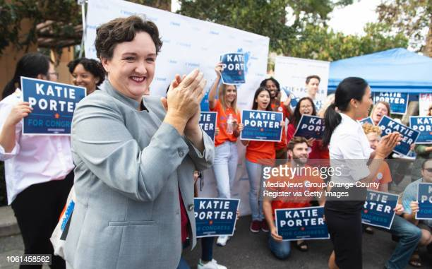 Katie Porter who is running against Mimi Walters for the state congressional seat in the 45th district speaks to supporters at the University of...