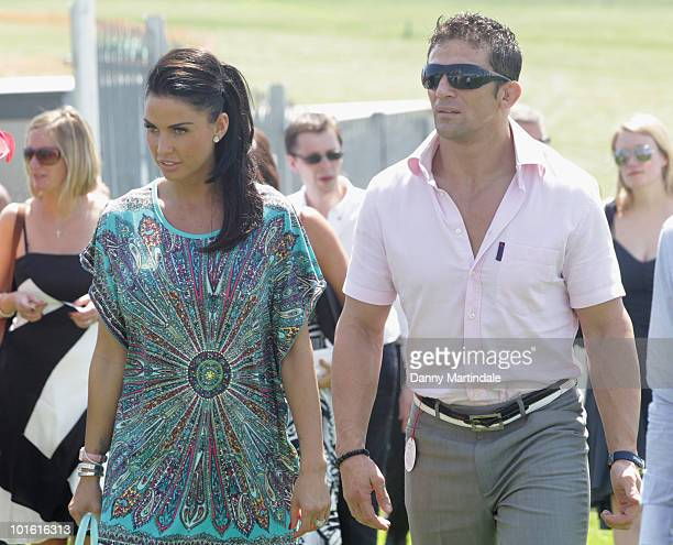 Katie Price aka Jordan and Alex Reid attend the Investec Ladies Day at Epsom Downs on June 4, 2010 in Epsom, England.