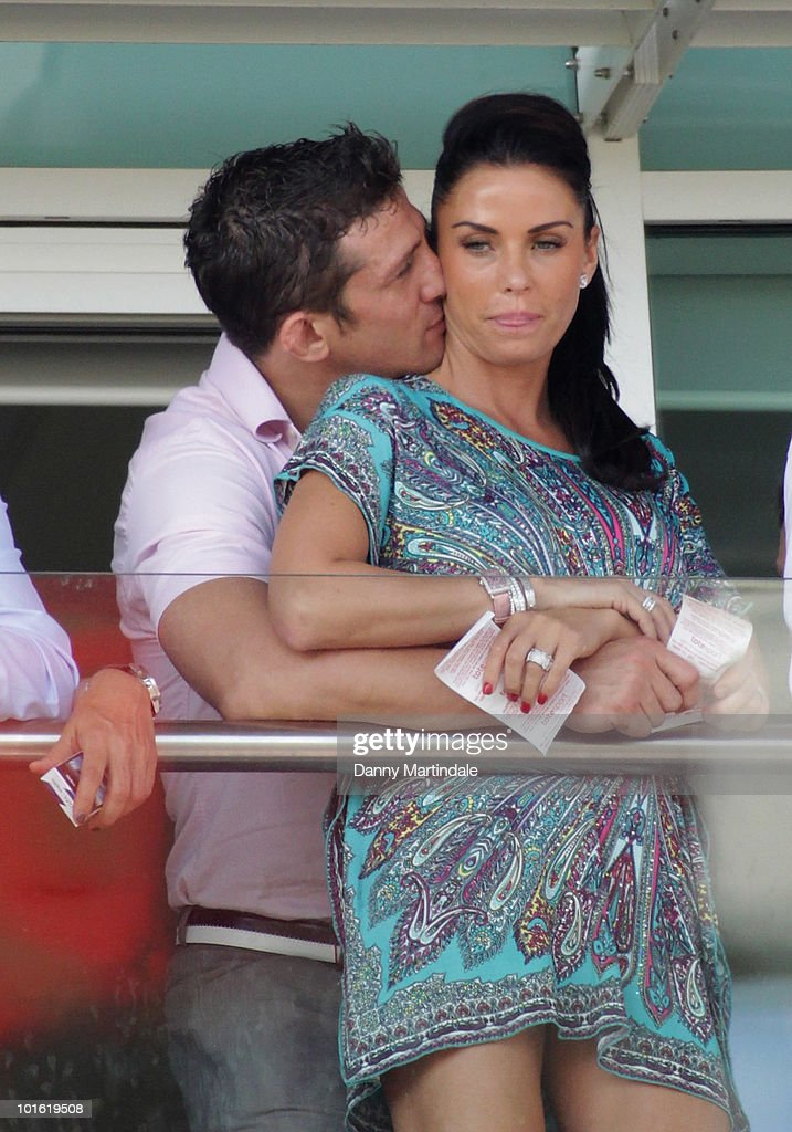 Katie Price aka Jordon and Alex Reid attend the Investec Ladies Day at Epsom Downs on June 4, 2010 in Epsom, England.