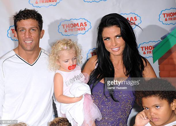Katie Price and Alex Reid arrive for the Thomas Friends 'Hero Of The Rails' premiere with her children Princess and Harvey at the Vue cinema...