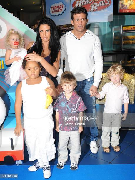 Katie Price and Alex Reid arrive for the Thomas Friends 'Hero Of The Rails' premiere with her children Princess and Harvey and friends at the Vue...