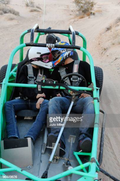 Katie Price and Alex Reid celebrate their honeymoon with buggy racing on the desert dunes of Nevada on February 4 2010 in Las Vegas Nevada