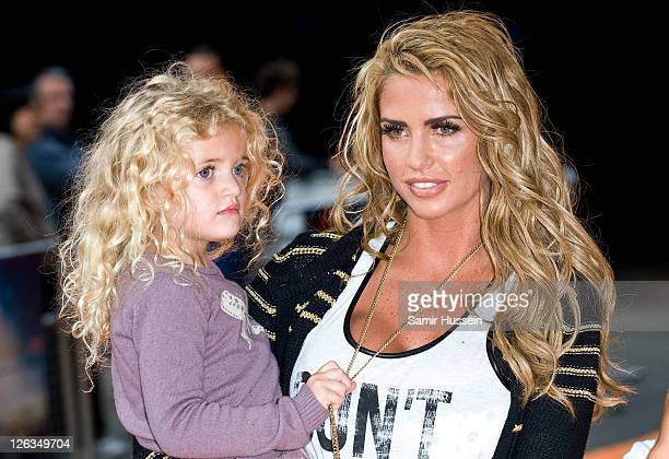 Katie Price and daughter Princess Tiaamii attend the UK premiere of The Lion King 3D at The BFI IMAX Waterloo on September 25 2011 in London United...