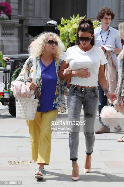 Katie Price and her mum Amy Price seen leaving the BBC Radio Studios after appearing on Woman's Hour on July 19 2018 in London England