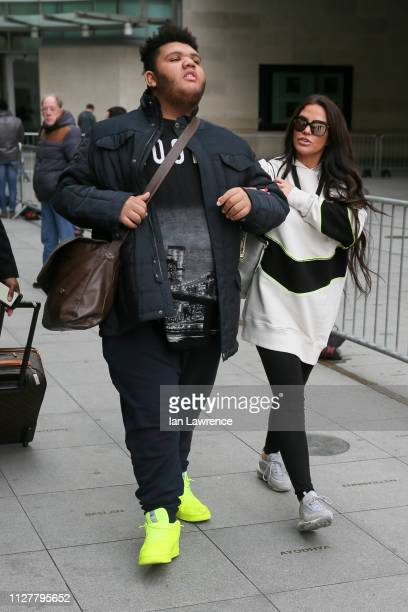 Katie Price and her son Harvey Price seen leaving BBC TV studios after appearing on Victoria Derbyshire TV showsighting on February 06 2019 in London...