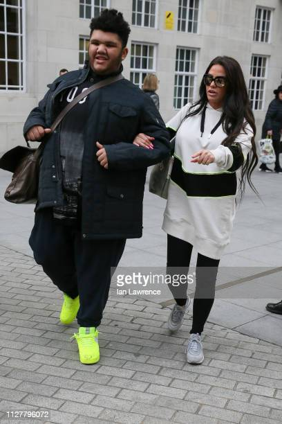 Katie Price and her son Harvey Price seen leaving BBC TV studios after appearing on Victoria Derbyshire TV showsighting on February 06, 2019 in...