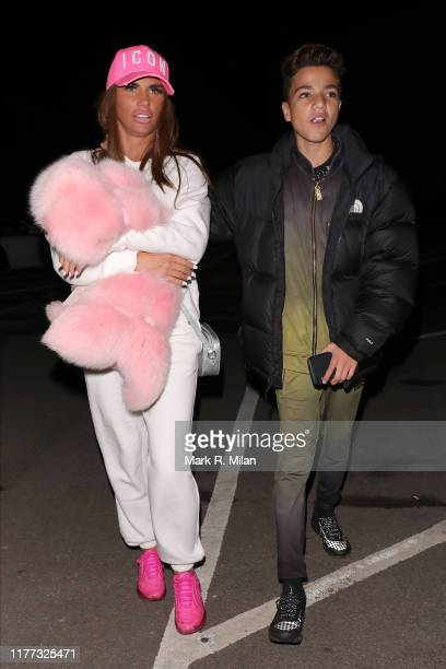 Katie Price and Junior Andre leaving Thorpe Park Fright Night on September 26, 2019 in London, England.