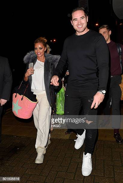 Katie Price and Kieran Hayler leave Woking's New Victoria Theatre after Katie's latest performance in 'Sleeping Beauty' on December 15 2015 in London...