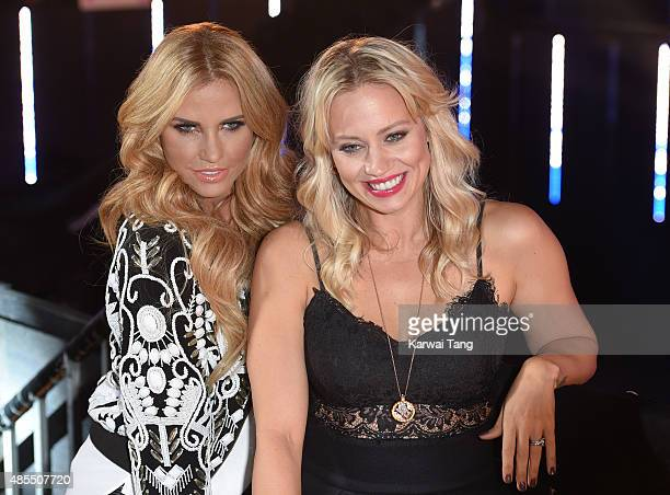Katie Price and Kimberly Wyatt attend the Celebrity Big Brother launch at Elstree Studios on August 27 2015 in Borehamwood England