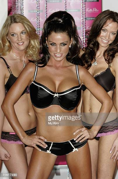 Katie Price and models pose for photographers to launch her new lingerie collection Katie Price at The Worx Studio on November 13 2006 in London...