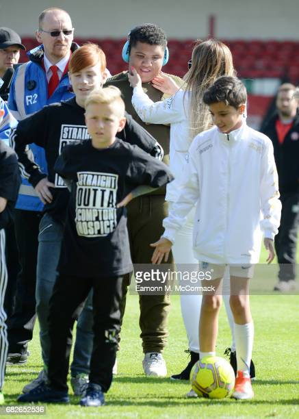 Katie Price and Son Harvey attend Sellebrity Soccer Match in aid of Smile For Joel and Compton Hospice at Banks' Stadium on May 13 2017 in Walsall...