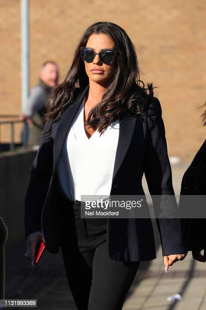 Katie Price arrives at Bexley Magistrates Court on February 25, 2019 in Bromley, England. Katie Price is due to stand trial after being charged with...