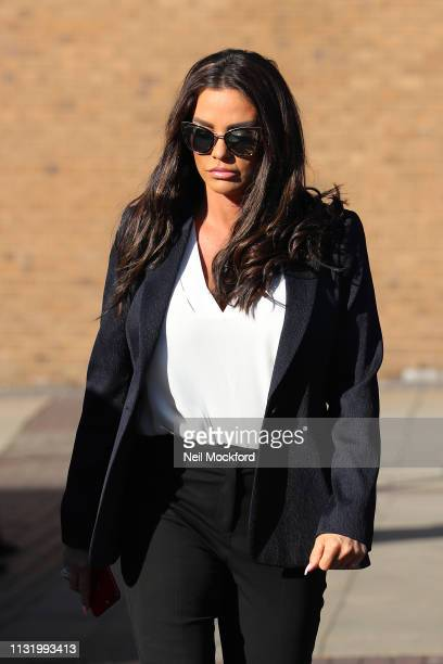Katie Price arrives at Bexley Magistrates Court on February 25 2019 in Bromley England Katie Price is due to stand trial after being charged with...