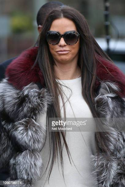 Katie Price arrives at Bromley Magistrates Court on January 07 2019 in London England Katie Price to appear in court charged with being drunk in...