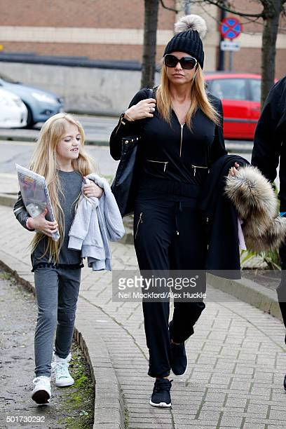Katie Price arrives at the New Victoria Theatre with daughter Princess on December 17 2015 in Woking England