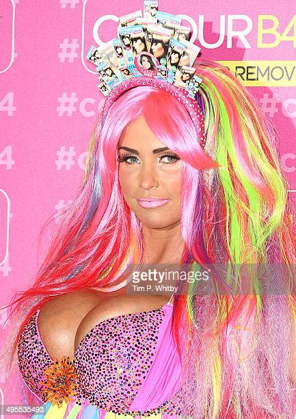Katie Price attends a photocall in her role as Global Ambassador for ColourB4 at The Worx Studio's on June 4 2014 in London England