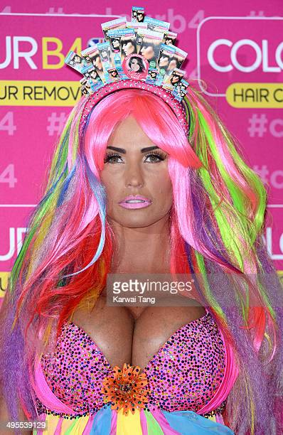 Katie Price attends a photocall in her role as Global Ambassador for ColourB4 at the Worx Studio on June 4 2014 in London England