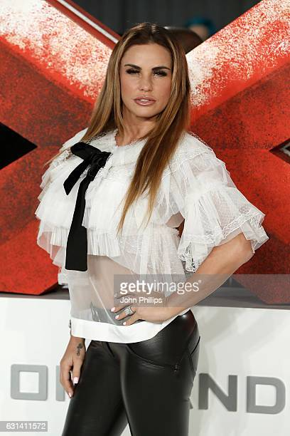 "Katie Price attends the European premiere of ""xXx"": Return of Xander Cage' at Cineworld 02 Arena on January 10, 2017 in London, United Kingdom."