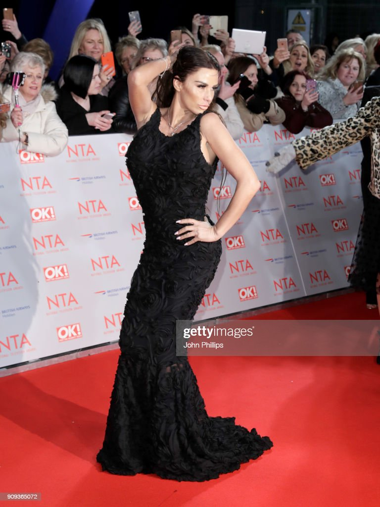 Katie Price attends the National Television Awards 2018 at the O2 Arena on January 23, 2018 in London, England.