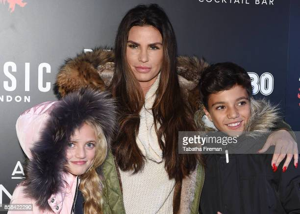 Katie Price attends the 'Shocktober' press night with her children Princess and Junior at Tulleys Farm on October 6 2017 in Crawley West Sussex