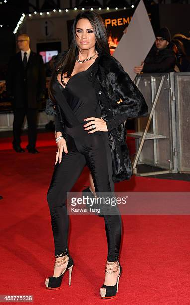 Katie Price attends the World Premiere of 'The Hunger Games Mockingjay Part 1' at Odeon Leicester Square on November 10 2014 in London England