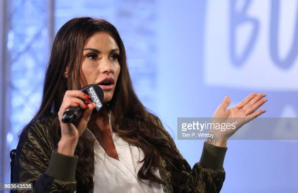 Katie Price discussing her new book 'Playing with Fire' and her career at BUILD London on October 20 2017 in London England
