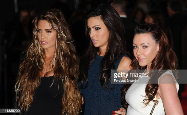 Katie Price Ellie Jenas and Michelle Heaton attend the European premiere of The Hunger Games at O2 Arena on March 14 2012 in London England