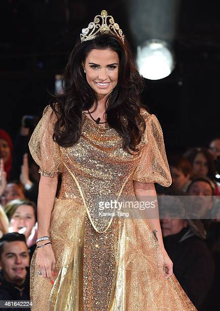 Katie Price enters the Big Brother House at Elstree Studios on January 16 2015 in Borehamwood England