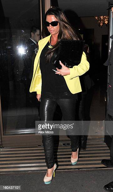 Katie Price is seen at the Mayfair Hotel on January 30 2013 in London England