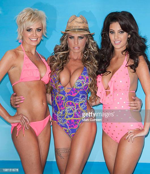 Katie Price Launches Her New Swimwear Range With Models Orlaith Mcallister And Ellie Jenas, At The Worx Studio In London.