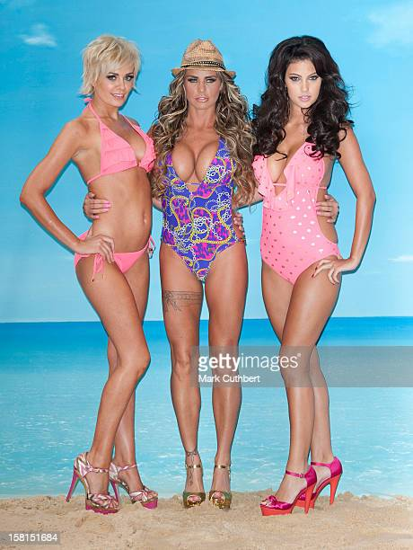 Katie Price Launches Her New Swimwear Range With Models Orlaith Mcallister And Ellie Jenas At The Worx Studio In London
