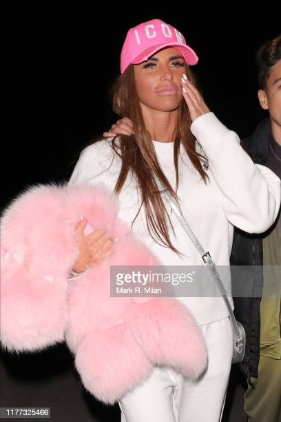 Katie Price leaving Thorpe Park Fright Night on September 26, 2019 in London, England.