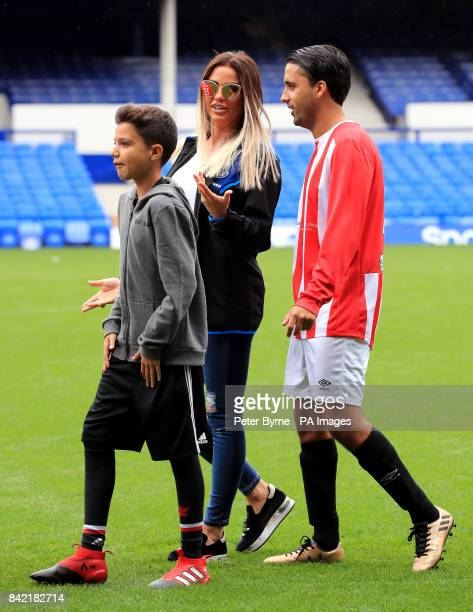 Katie Price on the pitch for the Bradley Lowery charity match at Goodison Park Liverpool